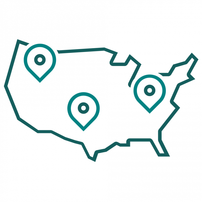 A map showing the US with pins in it.